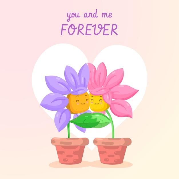Ty I Ja Na Zawsze Kwiat Para Walentynki Tło Darmowych Wektorów
