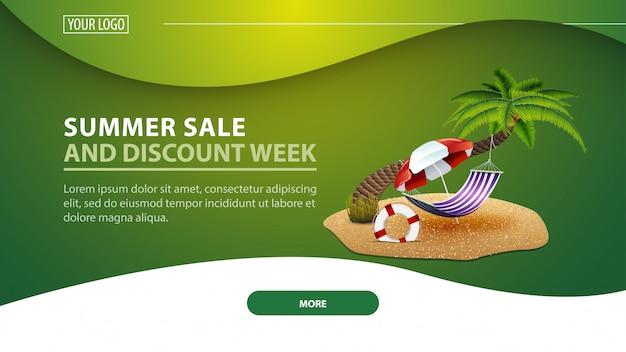 Tydzień letniej sprzedaży i rabatów, nowoczesny baner internetowy ze zniżkami na stronę Premium Wektorów