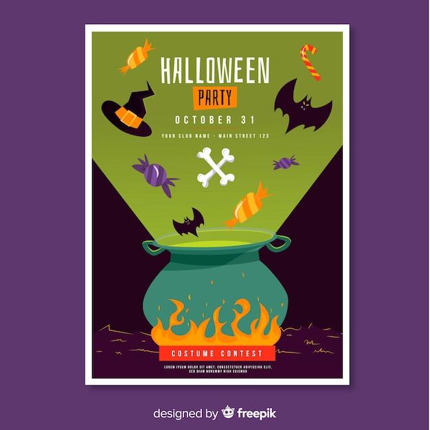 Tygiel Plakat Halloween Party Darmowych Wektorów