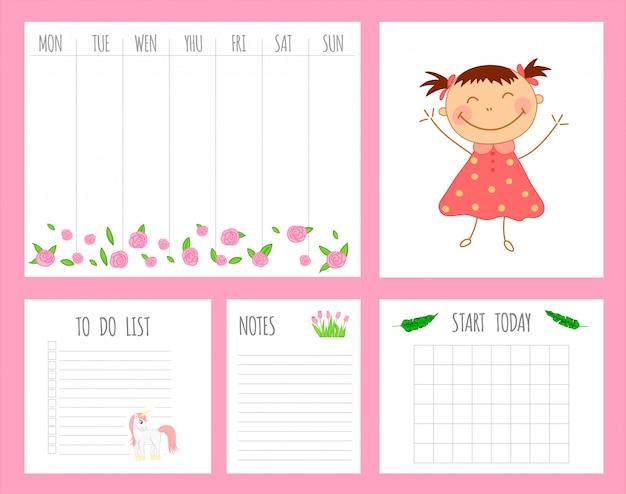 Tygodniowy planer dla dzieci z dziewczyną, jednorożcem i kwiatami Premium Wektorów