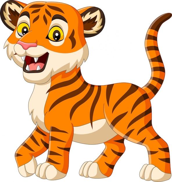 Tygrys dziecko kreskówka na białym tle Premium Wektorów