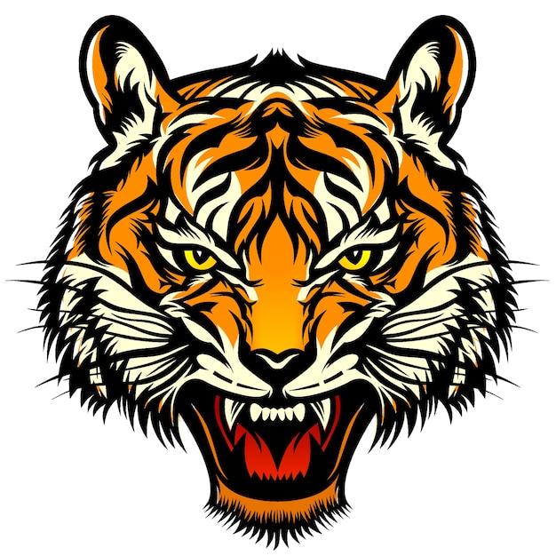 Tygrys Głowa Ilustracja Premium Wektorów