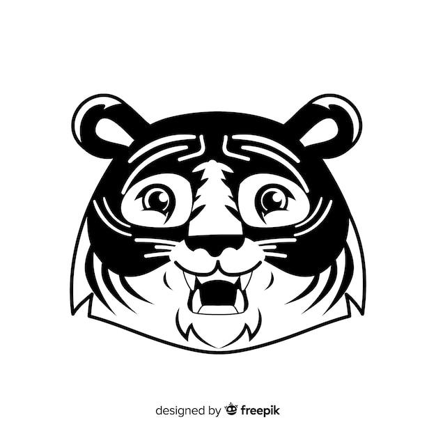 Tygrys Kreskówka Twarz Tło Darmowych Wektorów