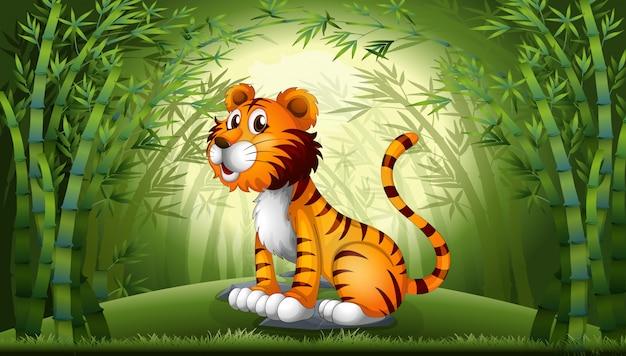 Tygrys w bambusowym lesie Darmowych Wektorów