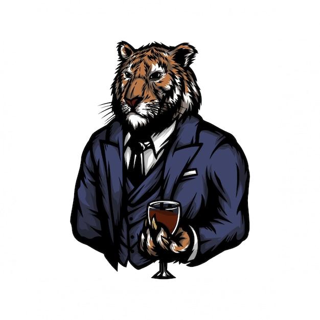 Tygrys w męskim garniturze Premium Wektorów