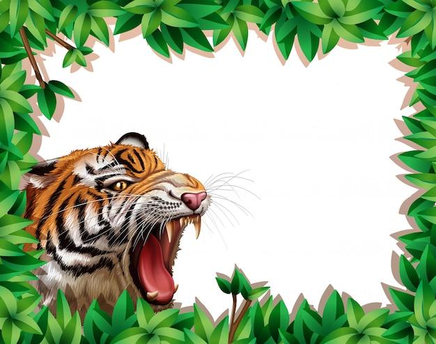 Tygrys w ramie liścia Darmowych Wektorów