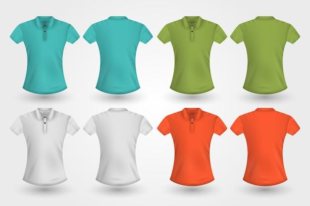 Tył I Przód Komplet Koszulek Polo Premium Wektorów
