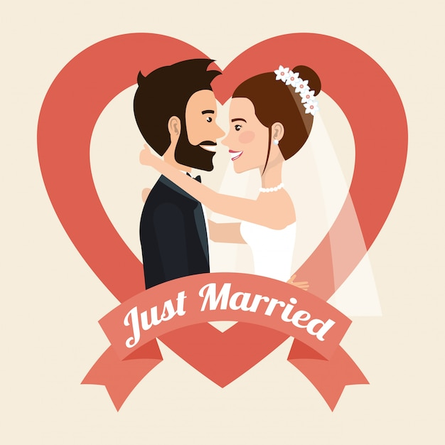 Tylko małżeństwo całuje postacie awatarów Darmowych Wektorów