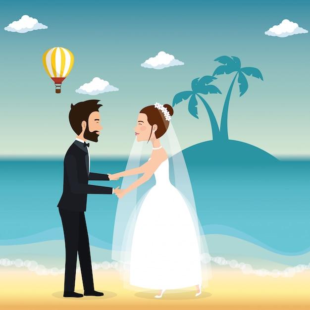 Tylko Małżeństwo Na Plaży Darmowych Wektorów