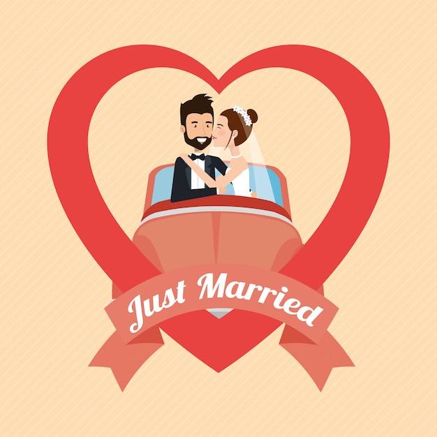 Tylko małżeństwo z postaciami awatarów samochodowych Darmowych Wektorów