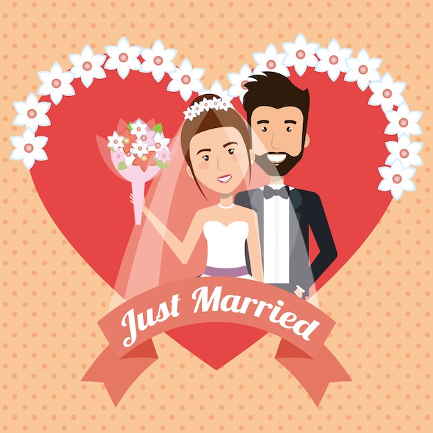 Tylko Małżeństwo Z Sercami Awatarów Znaków Darmowych Wektorów