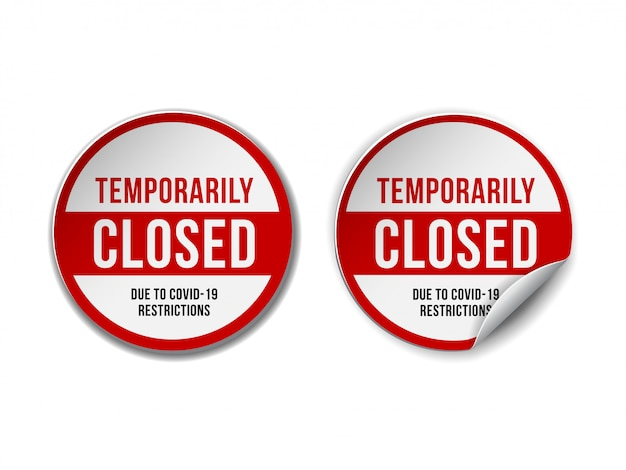 Tymczasowo Zamknięty Znak Wiadomości Z Koronawirusa. Zestaw Informacyjny Znak Ostrzegawczy O Kwarantannie Premium Wektorów
