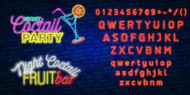 Typografia alfabetu neon czcionki z partii nocnego baru i neonu koktajl party, szyld Premium Wektorów