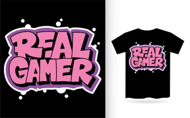 Typografia Dla Prawdziwych Graczy Do Druku Na Koszulkach Premium Wektorów