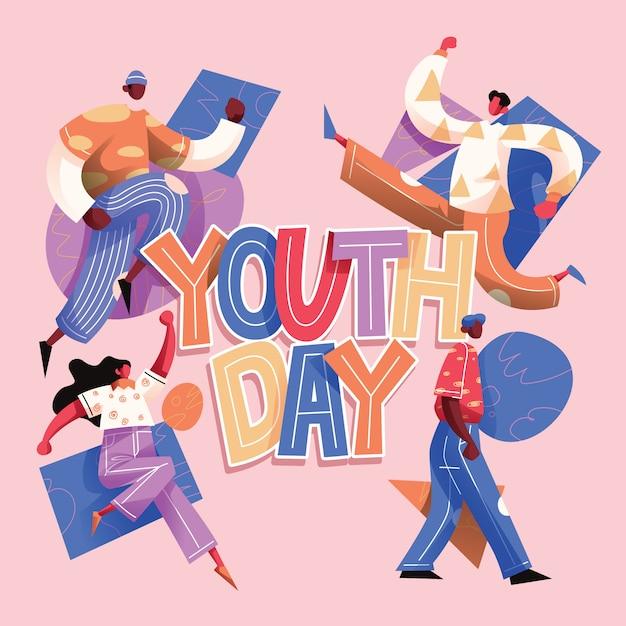 Typografia Dnia Młodzieży Z Grupą Nastolatków Premium Wektorów