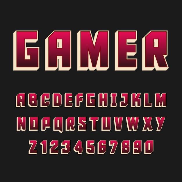 Typografia Gamer Alfabet Styl. Ozdobne Czcionki Nowoczesnej Czcionki. Zestaw Liter I Cyfr. Premium Wektorów