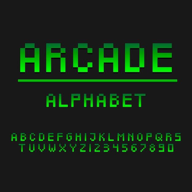 Typografia Gracz Arcade Styl Alfabetu. Ozdobne Czcionki Nowoczesnej Czcionki. Zestaw Liter I Cyfr. Premium Wektorów