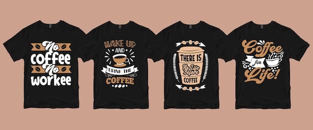 Typografia Kaligrafia Napis Kawa Cytaty T Shirt Zestawy Premium Wektorów