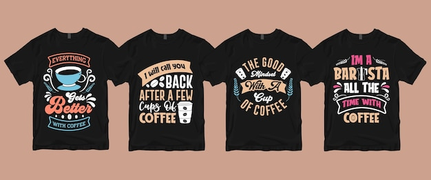 Typografia Kaligrafia Napis Kawa T Shirt Pakiet Premium Wektorów