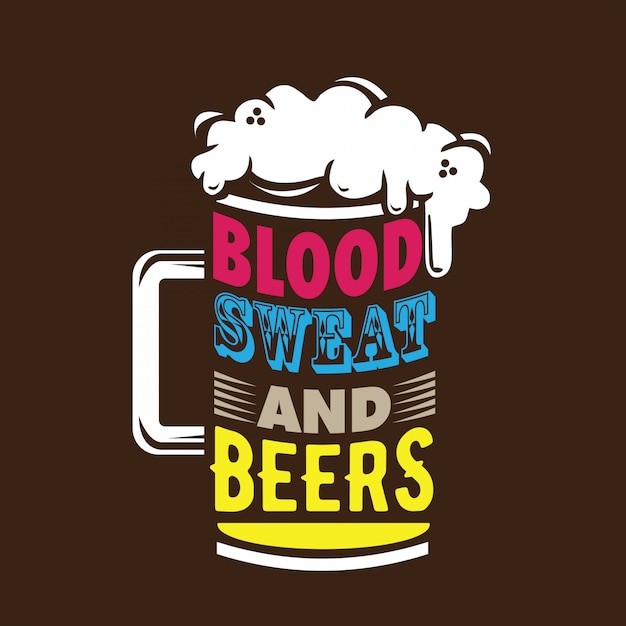 Typografia krwi i potu Premium Wektorów