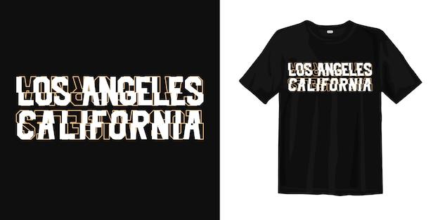 Typografia Los Angeles California Z Koszulką W Stylu Glitch Premium Wektorów