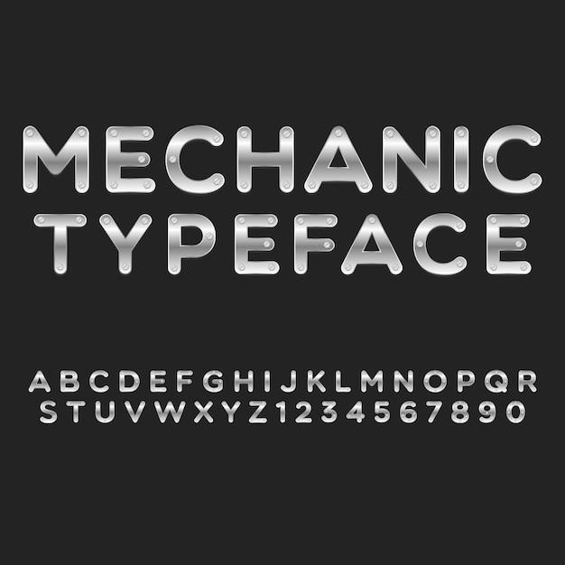 Typografia Mechanik Alfabet Styl. Ozdobne Czcionki Nowoczesnej Czcionki. Zestaw Liter I Cyfr. Premium Wektorów