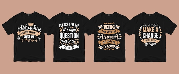 Typografia Napis Kawy Cytaty T Shirt Pakiet Premium Wektorów