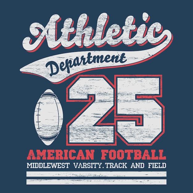 Typografia Sportowa, Grafika Na Koszulce University Football Dept., Vintage Print Premium Wektorów