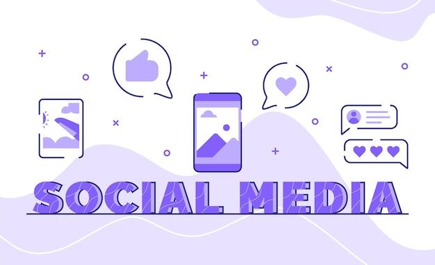 Typografia W Mediach Społecznościowych Wordart Tło Ikony Zdjęcie Posta Komentarz Zwrotny W Stylu Konspektu Premium Wektorów