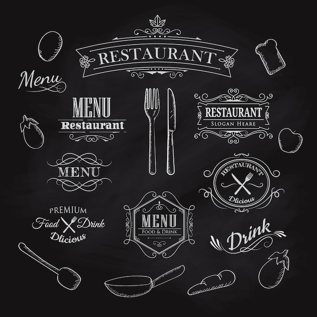 Typographical element dla menu restauraci blackboard rocznika han Premium Wektorów