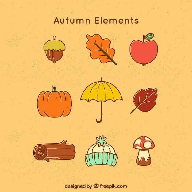 Typowe Elementy Jesieni W Prostym Stylu Darmowych Wektorów