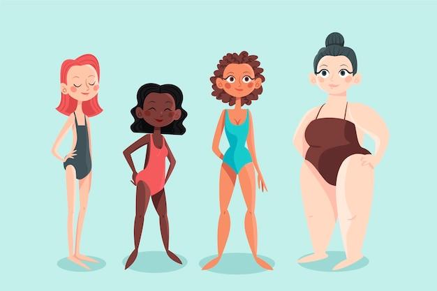 Typy Kreskówek Kształtów Kobiecego Ciała Darmowych Wektorów