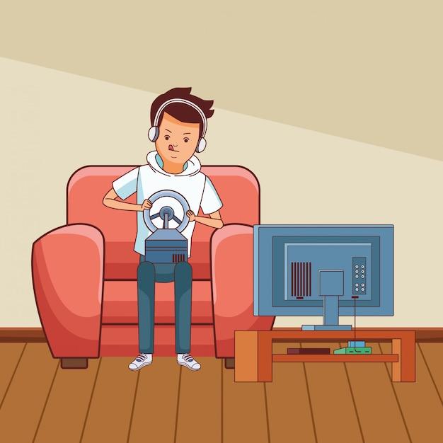 Tysiąclecia i gry wideo w czerni i bieli Premium Wektorów