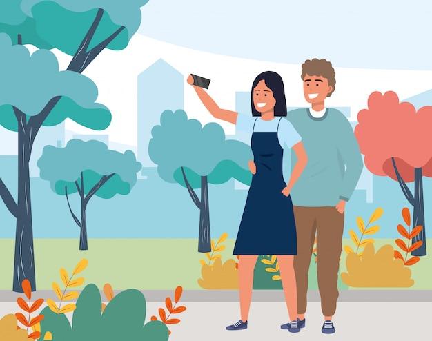Tysiąclecia para uśmiechnięta selfie natura Premium Wektorów