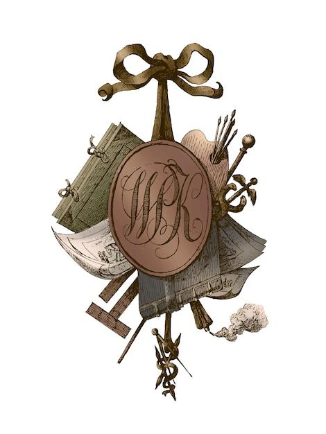 Tytuł Winiety Z Monogramem Wpk Darmowych Wektorów