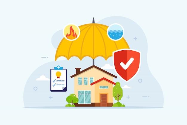 Ubezpieczenie Domu Z Ochroną Parasolową Premium Wektorów