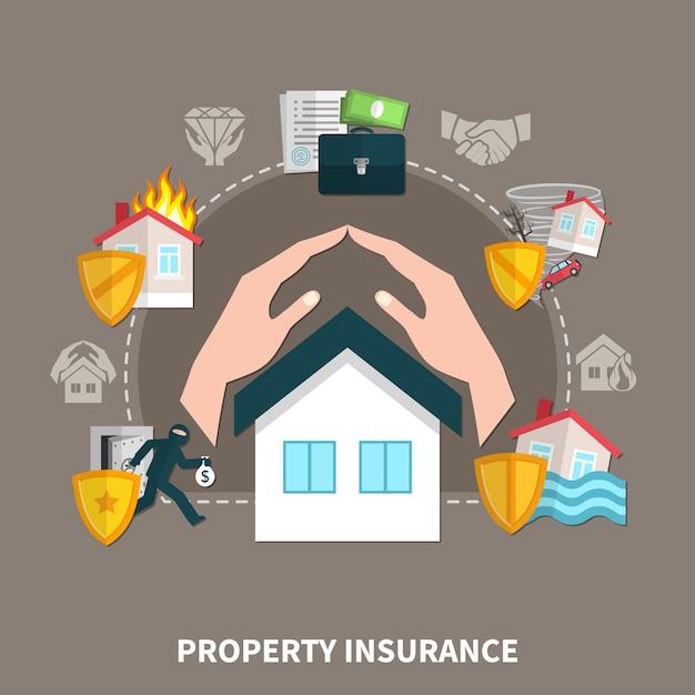 Ubezpieczenie Mienia Od Ryzyka Pożaru, Kradzieży, Katastrof Naturalnych Premium Wektorów