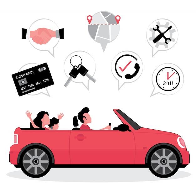 Ubezpieczenie Wynajmu Samochodu Rodzina Jeździ Samochodem Ze Zdjęciem Karty Kredytowej, Kluczykami, Mapą I Serwisem Premium Wektorów