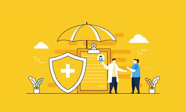 Ubezpieczenie Zdrowotne W Stylu Płaskiej Premium Wektorów