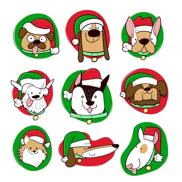 Ubrani Psy W Okresie świątecznym Premium Wektorów