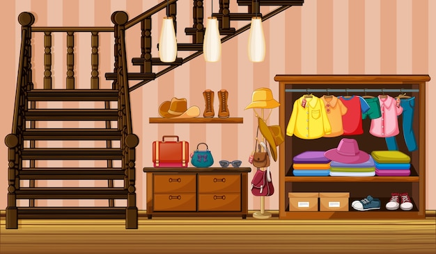 Ubrania Wiszące W Szafie Z Wieloma Dodatkami W Scenie Domowej Darmowych Wektorów