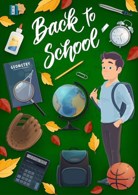 Uczeń, Książka, Plecak, Materiały Edukacyjne Premium Wektorów