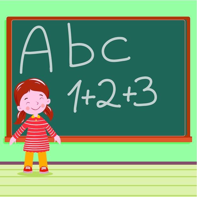 Uczeń na blackboard w sala lekcyjnej abc liście Premium Wektorów