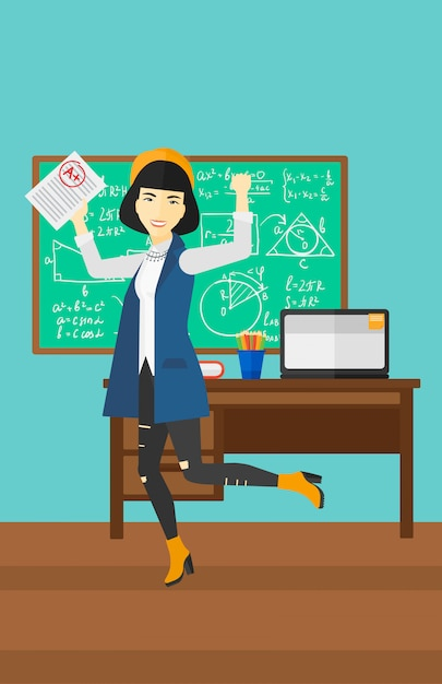 Uczeń Otrzymał Najlepszą Ocenę Premium Wektorów