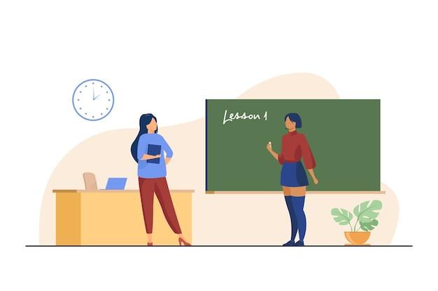 Uczeń Szkoły średniej Stojący Przy Tablicy. Mówienie Lekcji, Nauczyciel, Pisanie Na Tablicy Płaskiej Ilustracji Wektorowych. Klasa, Wykształcenie Darmowych Wektorów