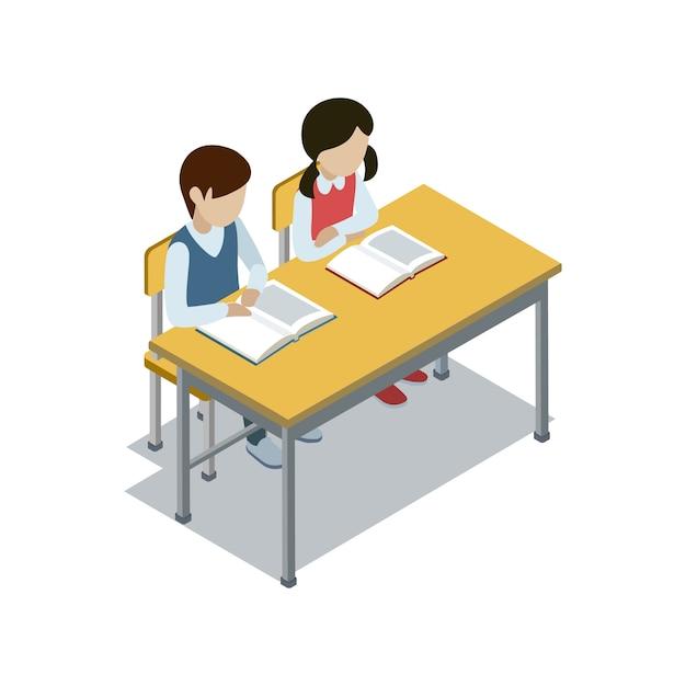 Uczniowie siedzą przy biurku izometrycznej ilustracji Premium Wektorów