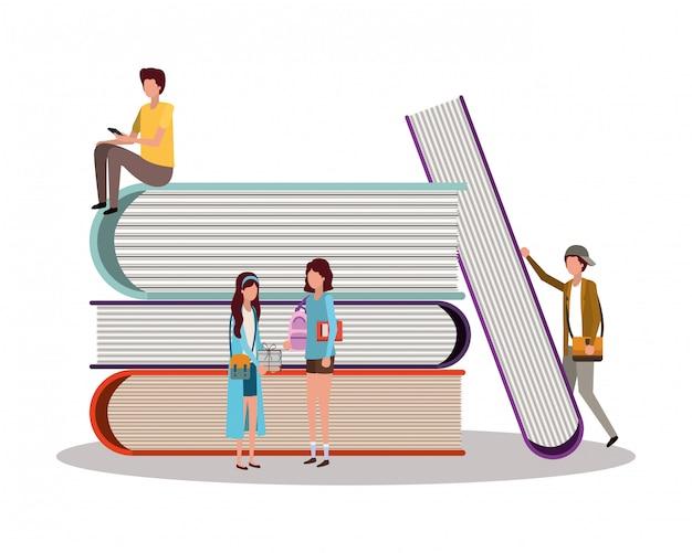 Uczniowie z książkami, lekcja edukacji uczą się nauki w klasie i informacji Premium Wektorów