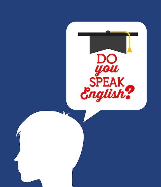 Uczyć się angielskiego projekt, wektorowa ilustraci eps10 grafika Premium Wektorów