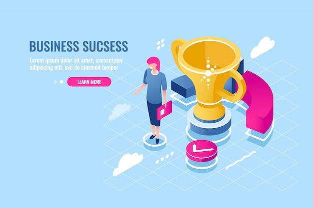 Udany menedżer biznesowy, osiągnięcie celu, kobiety sukcesu, zasłużona nagroda Darmowych Wektorów