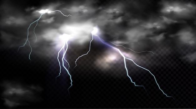 Uderzenia Piorunów I Chmura Burzowa, Wyładowanie Elektryczne I Chmura Burzowa, Miejsce Uderzenia Lub Magiczny Błysk Energii. Darmowych Wektorów